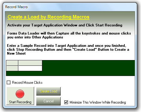 Click &;start recording&; button and start entering a sle record in
