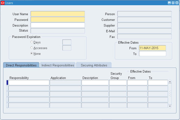 Create Users in Oracle EBS R12
